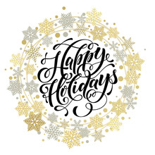 Happy Holidays Lettering, Gold...