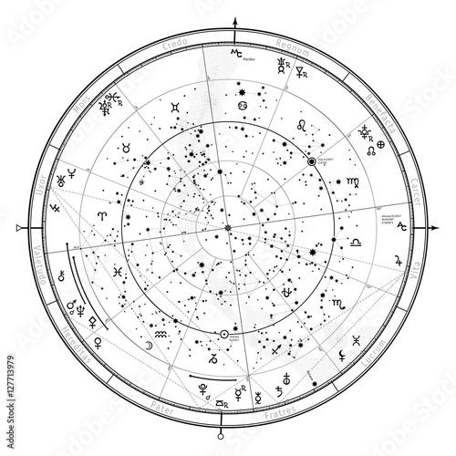 Fotomagnes Astrologiczna Niebiańska mapa półkuli północnej. Horoskop 1 stycznia 2017 r. (00:00 GMT). Szczegółowy wykres z symbolami i znakami zodiaku, planet, asteroid itp.