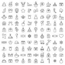 Christmas Xmas 100 New Year Winter Celebration Outline Line Black On White Background Icons Set