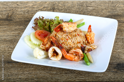 Stickers pour porte Pierre, Sable Fried rice with seafood