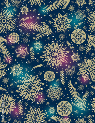 Cotton fabric Christmas seamless pattern background with snowflakes and stars,