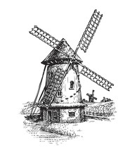 Windmill. Hand Drawn Vintage Sketch Vector Illustration