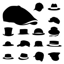 Vector Men Hat Silhouette Icon Set Collection