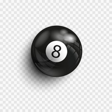 Pool And Snooker. Vector Illustration Billiards. Eight Ball. Isolated On A Transparent Background. Billiard Ball Under The Lights With Realistic Shadow.