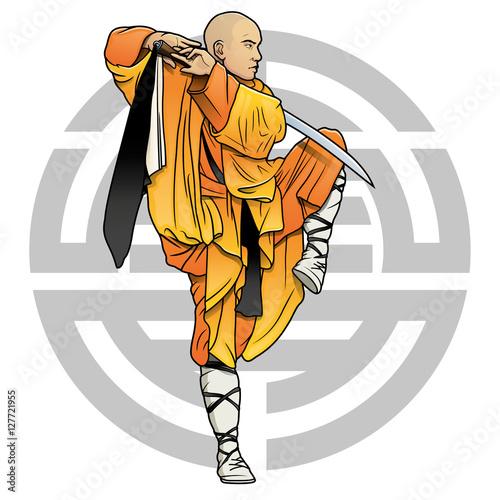 "Fotografia  shaolin monk with sword and chinese ""Shou"" symbol (Longevity)"