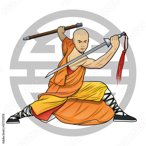 """Fotografie, Obraz  shaolin monk with sword and chinese """"Lu"""" symbol (Prosperity)"""