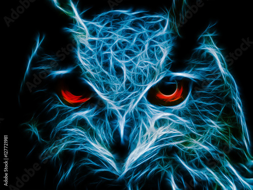 Poster Uilen cartoon Abstract image owl dark color wallpaper background flame illustration stock
