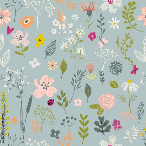 Stoffe zum Nähen nahtlose Blumenmuster Doodle