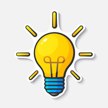 Cartoon Sticker With Light Bulb In Comic Style
