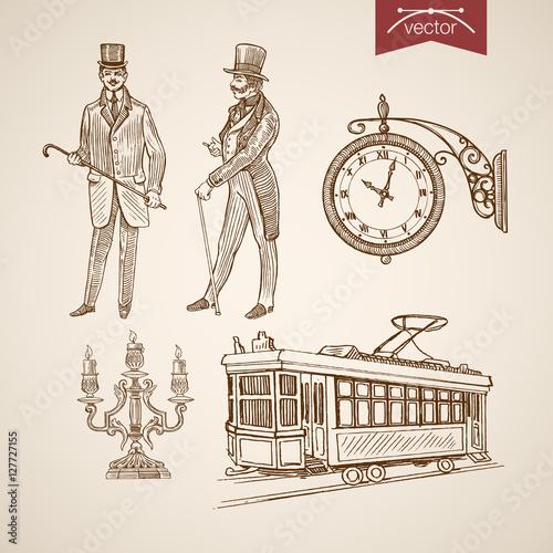 Engraving hand vector chandelier tram clock gentleman Canvas Print