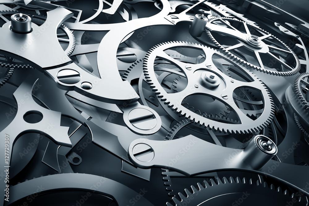 Fototapety, obrazy: Mechanizm wewnętrzny, mechanizm zegarowy z narzędziami roboczymi