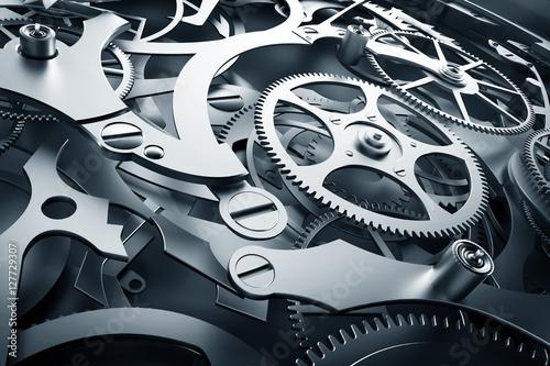 Obraz Mechanizm wewnętrzny, mechanizm zegarowy z narzędziami roboczymi - fototapety do salonu