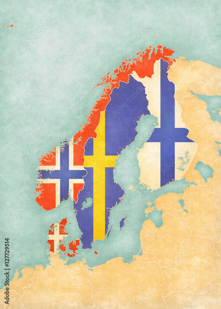 graphic about Scandinavia Map Printable named Photograph Artwork Print Map of Scandinavia - All Nations