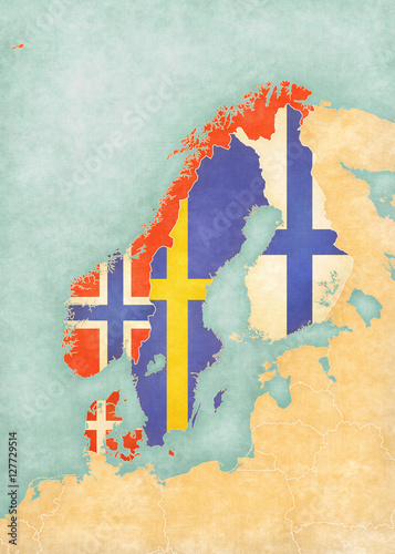 Map of Scandinavia - All Countries Fototapeta