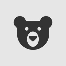 Teddy Bear Face Vector Icon. S...