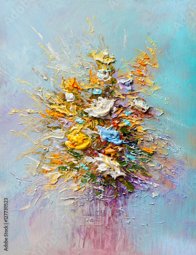 Oil painting flowers - 127730523