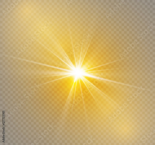 Pinturas sobre lienzo  Glow light effect. Star burst with sparkles.Sun.