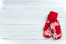 Christmas Wooden Background With Mittens