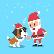 Santa Claus With Saint Bernard Dog