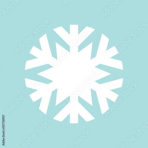 Photo  Flat snowflake icon, white on blue background