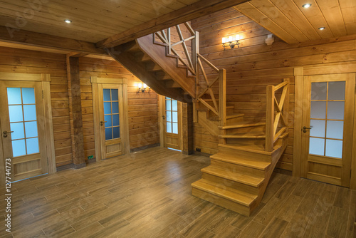 Photo sur Aluminium Escalier Wooden stair - Stair in a wood house