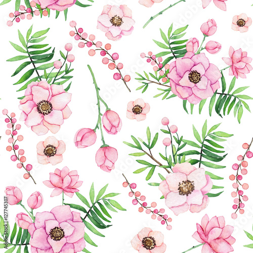 Cotton fabric Seamless Pattern with Watercolor Bouquets and Berries