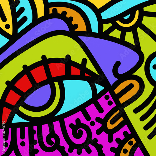 Stickers pour portes Abstrait antique abstract shapes and colors