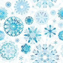 Watercolor Vector Snowflake Pattern