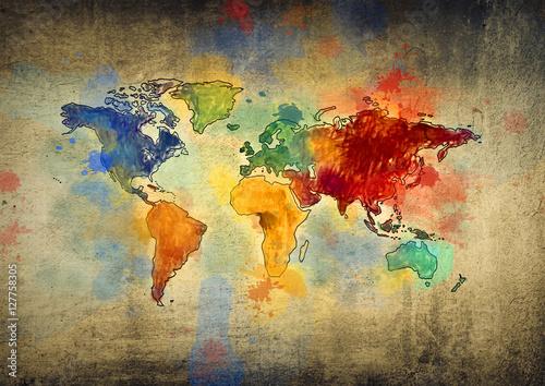Obraz Malowana mapa świata - fototapety do salonu