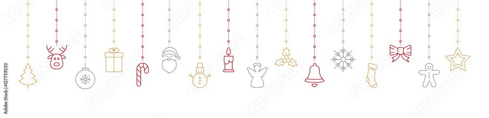 Foto-Leinwand ohne Rahmen - christmas colorful icon elements hanging white background