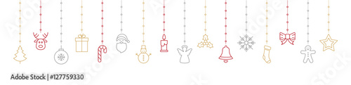 Foto-Vinylboden - christmas colorful icon elements hanging white background (von Pixasquare)