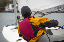 Man In The Finn-Class Sailboat Participates In One Of The Match Race Regattas On The Sava River, Belgrade, Serbia