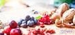 canvas print picture - Superfood gesundes Frühstück / gesunde Mahlzeit aus Beeren, Nüssen und Cerialien