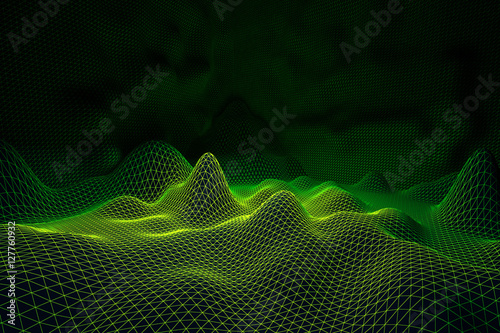 Keuken foto achterwand Fractal waves Light green grid waves