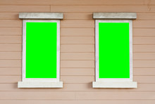 Dual Or Two Old Wood White Window With Big Green Screen On The W