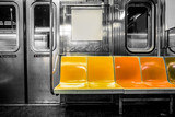 Fototapeta Nowy Jork - New York City subway car interior with colorful seats