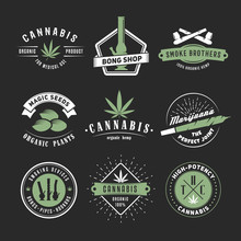 Vector Cannabis Badges. Set Of Marijuana Logos With Hemp Leaves, Joints, Bongs And Smoking Devices On A Black Background