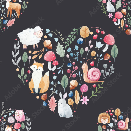 Cotton fabric Watercolor pattern with animals flowers