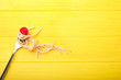 canvas print picture - Fork with pasta and tomato on wooden background
