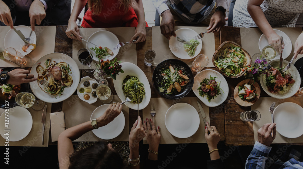 Fototapety, obrazy: People Friendship Food Cuisine Happiness Concept