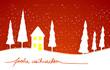 Verträumte Winter-Schnee-Landschaft mit dem handgeschriebenen Schriftzug - Frohe Weihnachten winterliche weihnachtliche Karte mit Tannenbäumen, Haus und Schnee  - gemalt Vektor Schneegestöber