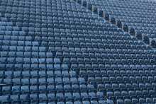 Rows Of Blue Plastic Seats At ...