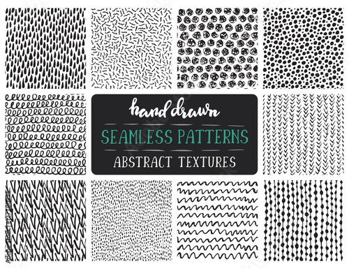 Set of ten hand drawn ink seamless patterns. Canvas Print