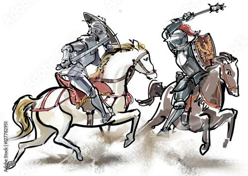 Staande foto Schilderingen 騎士-対決