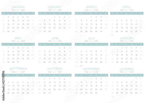 2017 calendar simply blue on white background business week and