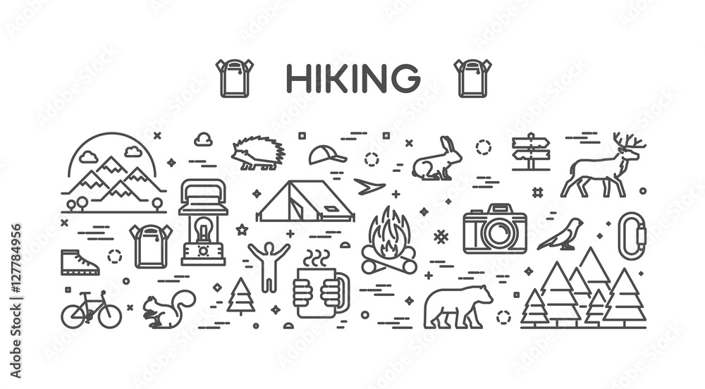 Fototapety, obrazy: Vector line web concept for hiking