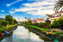 Houses On The Venice Beach Canals In California.
