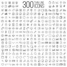 300 Thin Line Universal Icons ...