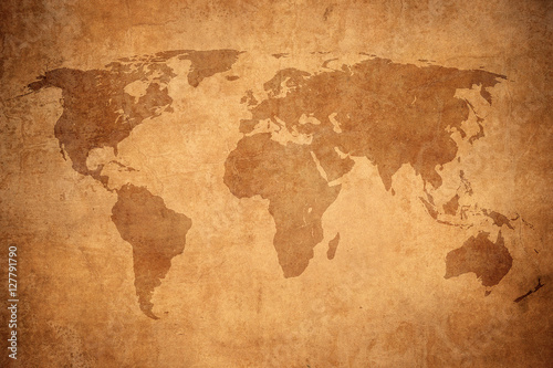 Photo  grunge map of the world