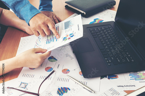 Photo  Corporate Business Planning with business chart Teamwork Concept